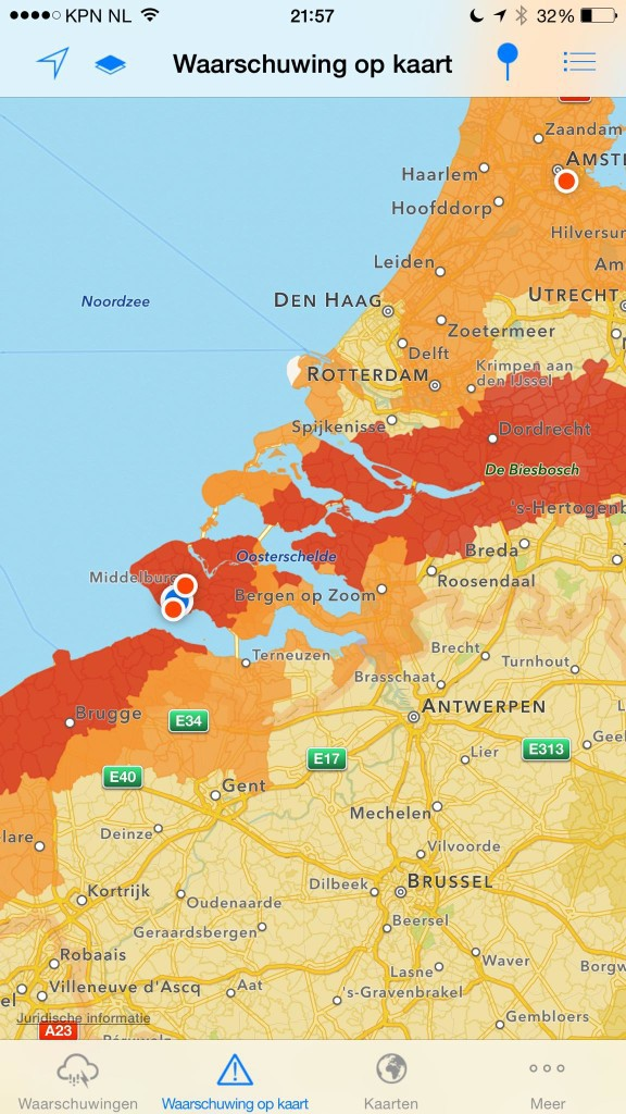 Kaart onweer 30 augustus 2015 Vlissingen